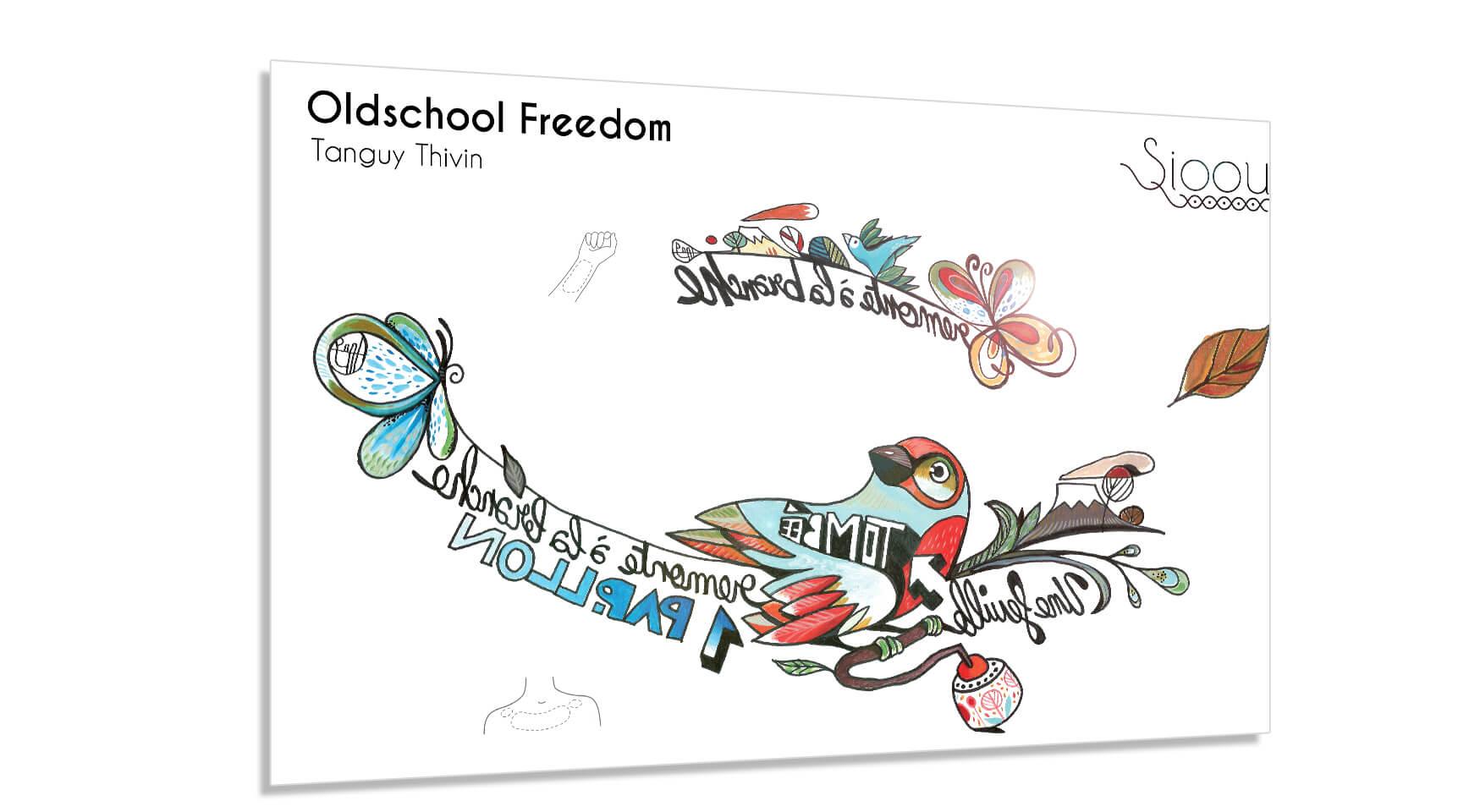 Parure de tatouages éphémères couleurs Oldschool Freedom