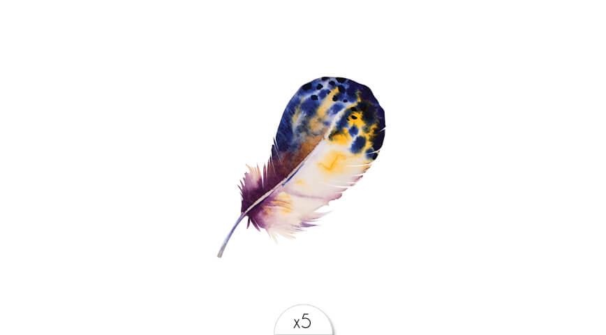 Plume tachetée bleu-jaune x5