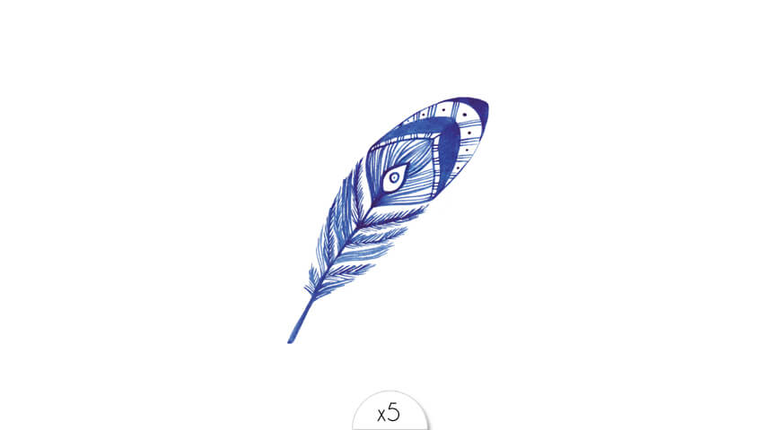 Blue thin lines feather with an eye x5