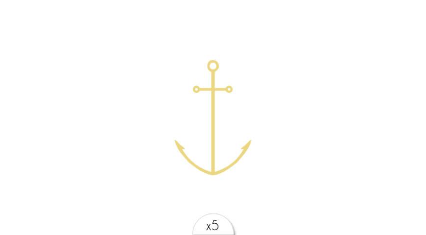 Ancre dorée x5