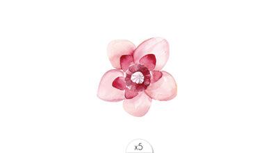 Fleur rose pâle et fuchsia x5
