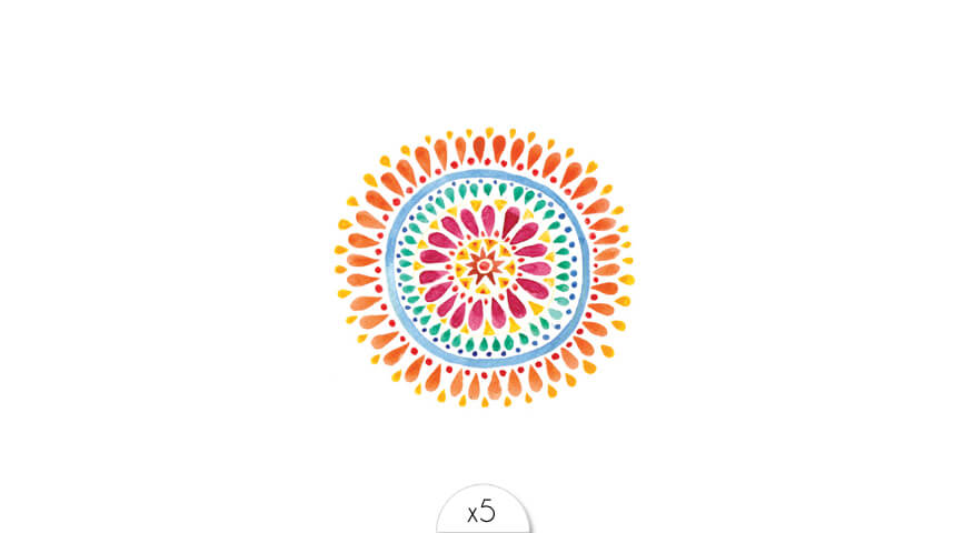 Mandala coloré x5