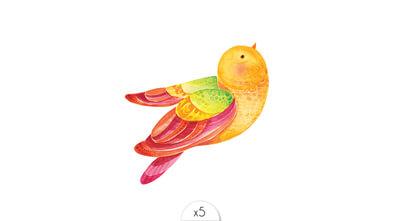 Oiseau vert x5