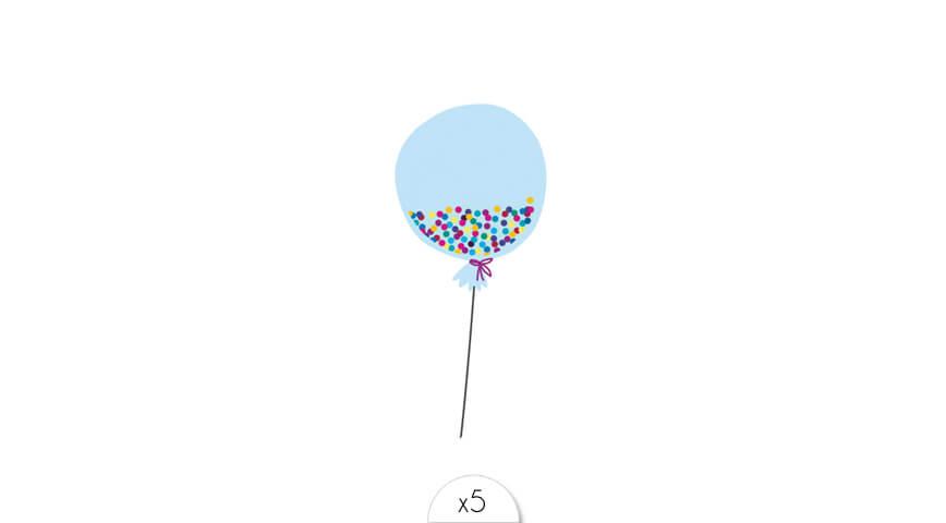 Ballon bleu clair x5