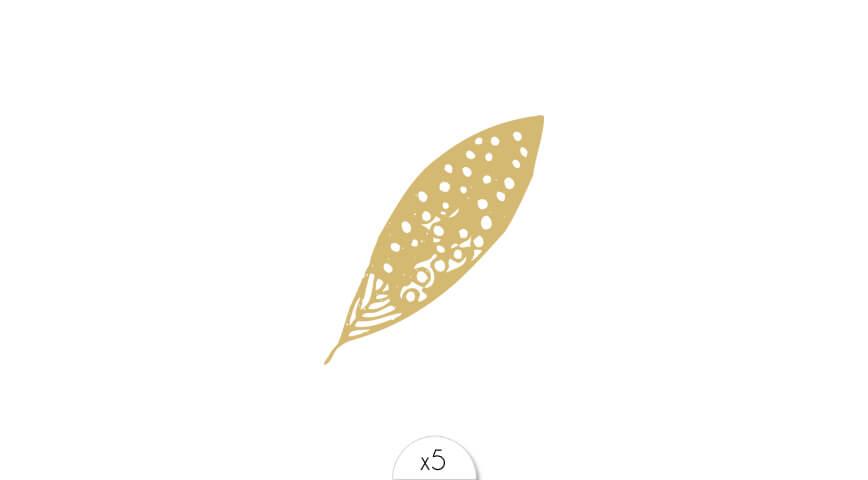 Plume dorée x5