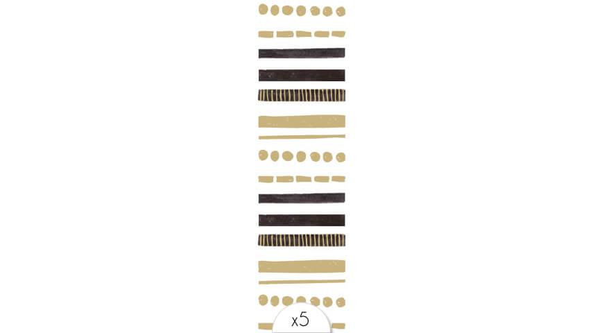 Bracelet barres noires et dorées x5