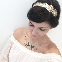 tatouages temporaires colorés romantiques